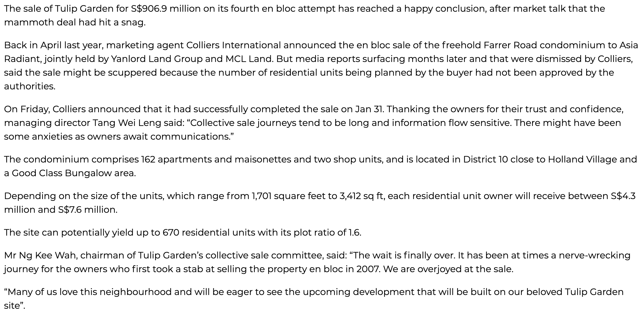 tulip-garden-S$907m-collective-sale-to-yanlord-mcl-successfully-completed