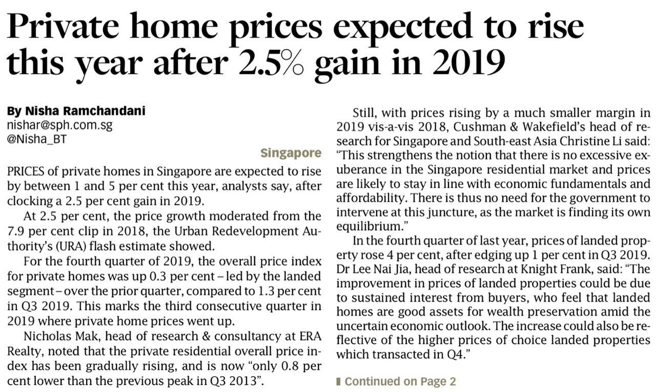 leedon-green-Private-home-prices-expected-to-rise-this year-after-2.5% gain-in-2019