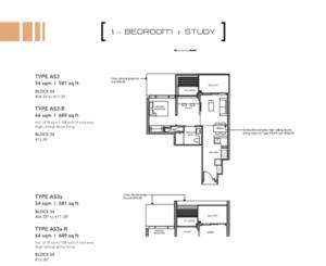 Leedon-Green-1-bedroom-+-study-AS3-floor-plan-Singapore