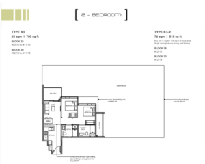 Leedon-Green-2-bedroom-B3-floor-plan-Singapore